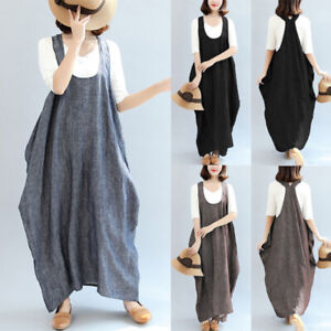 UK-10-24-Women-Oversized-U-Neck-Sleeveless-Casual-Baggy-Long-Shirt-Dress-Kaftan