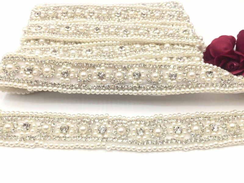 1 Yd (approx. 0.91 M) Diamantes De Imitación Perla De Cristal Para Boda Nupcial Faja Cinturón De Diamantes De Imitación Con Cuentas Recortar
