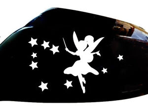 Fairy-Car-Sticker-Wing-Mirror-Styling-Decals-Set-of-2-White