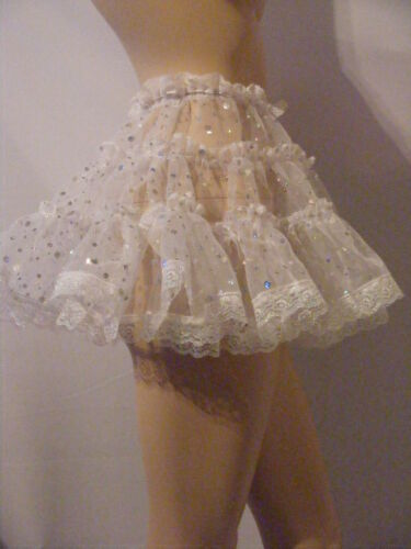 "SISSY ADULT BABY FANCY DRESS WHITE ORGANZA MICRO MINI SKIRT 11/""LONG ALL SIZES"