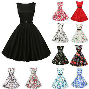 a1c800f0ce3 Image is loading Women-Vintage-Style-Pinup-Swing-Evening-Party-Sleeveless-