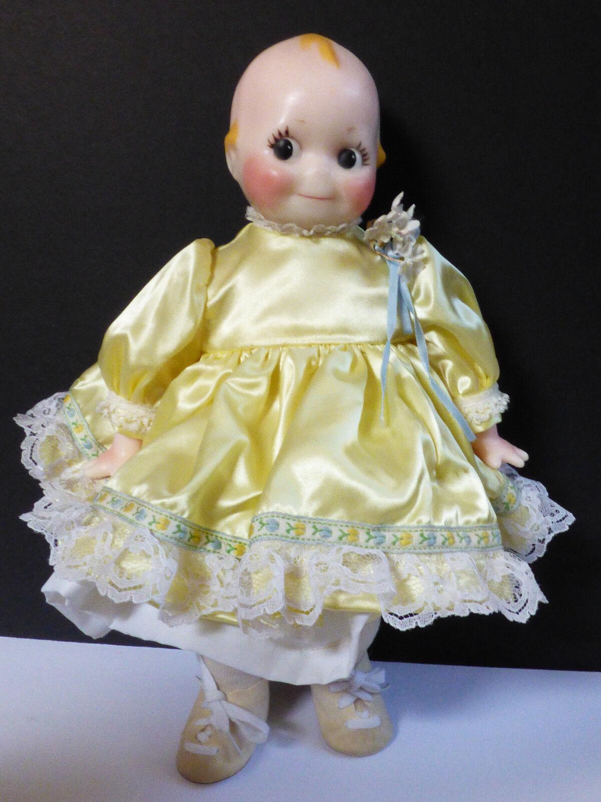 Lewis Sorensen Original 1982 Wax Doll hand made Kewpie in yellow dress 15  L.Ed.
