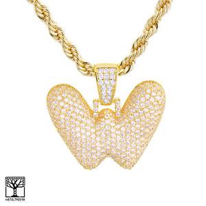 Carta-de-burbuja-inicial-W-Personalizado-Chapado-en-Oro-helado-de-Circonio-Cubico-Colgante-Collar