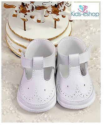 Baby Boys White Faux Leather Pram Shoes Sandals Christening Formal Party Soft And Light