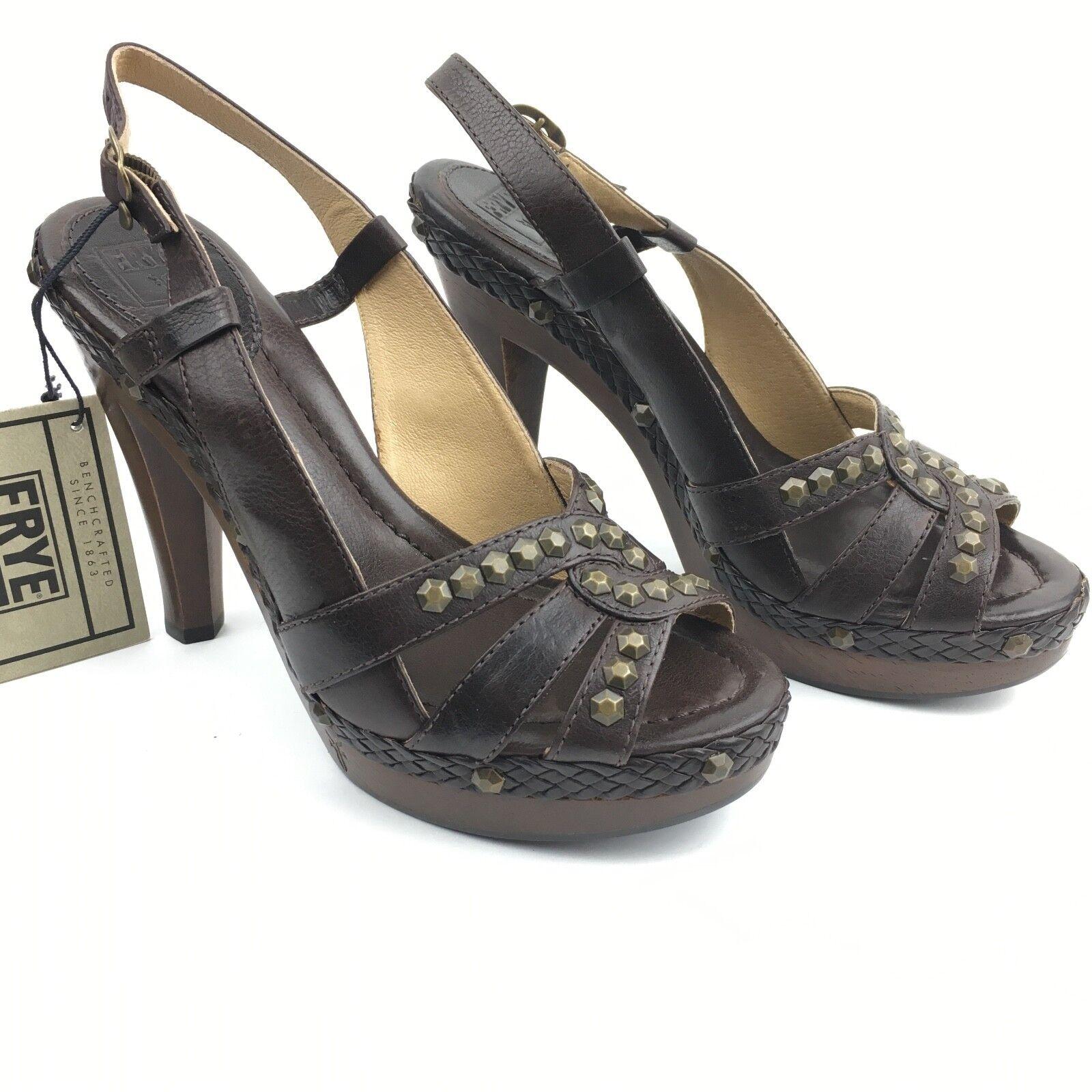 Frye Dara Honeycomb Leather Studded Slingback Heels Dark Brown Size 9