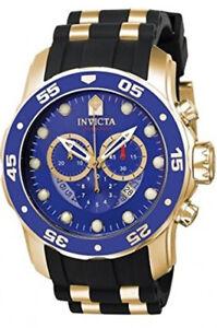 Invicta-Men-039-s-Pro-Diver-Chrono-Gold-Plated-S-Steel-Black-Silicone-Watch-6983