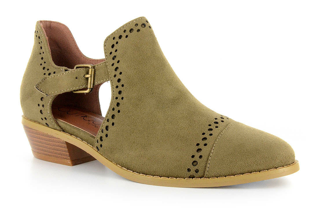 Corkys Womens Solo Laser Cut Transitional Suede Booties