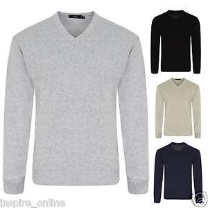 Da-Uomo-Cotone-Collo-V-Maglione-Lavorato-a-Maglia-Maglione-Pullover-Casual-Formale-Maniche-Lunghe