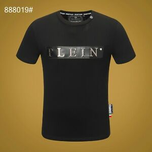 PHILIPP-PLEIN-Black-Letters-Beading-Men-Casual-T-shirt-P888019-Size-M-3XL