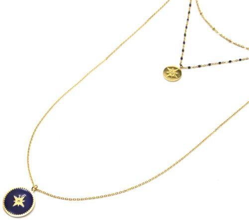 Médaille Acier Doré et Etoile Po... Collier Triple Chaîne Mini Perles CC2864F