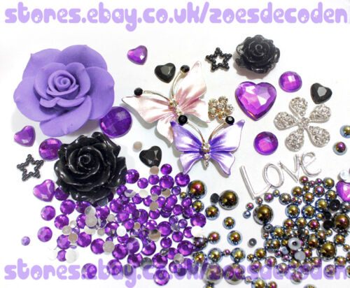 DIY cell phone case bling Butterfly crystal metal cabochon decoden deco kit