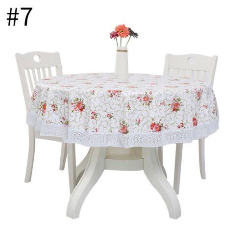 1pc ronde Nappe Floral Imprimé Eau /& Huile Résistant salle à manger Tablecover napperon