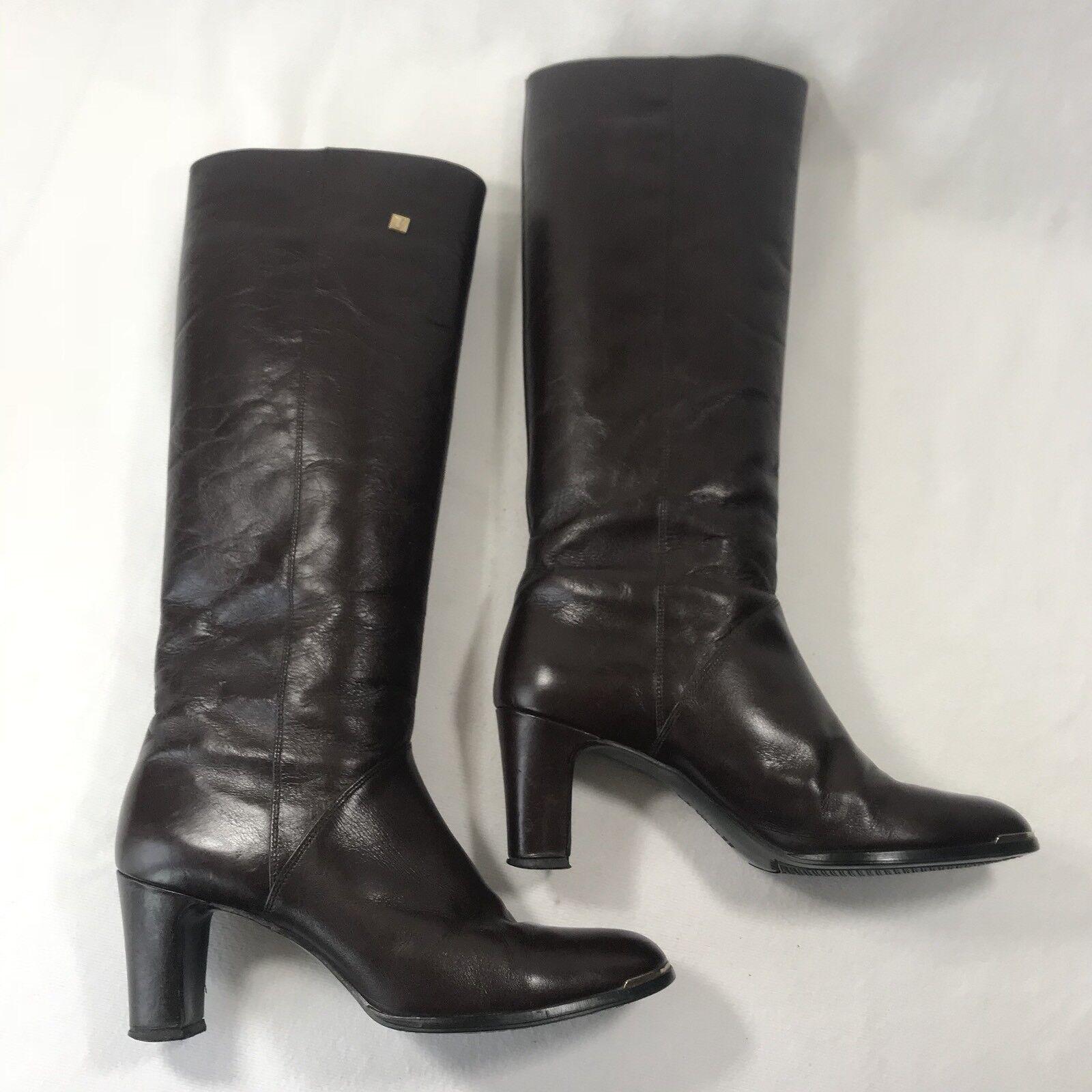La Vallee Women's Sz 9.5 M Brown Leather Knee High Heels Boots