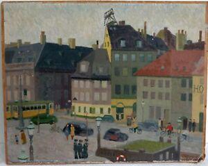 Grossstadtszene-naiv-1947-signiert-Rogler-47-Ol-auf-Leinwand-auf-Malplatte