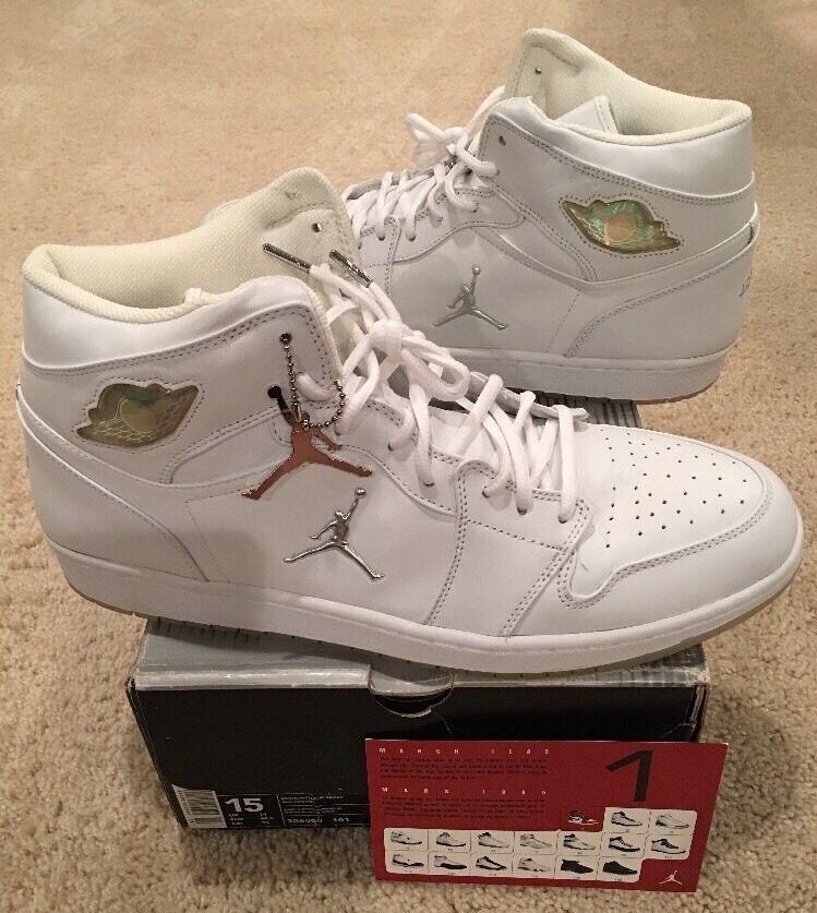 Nike Air Jordan Retro 1 Blanco nueva Metallic Plata Chrome 2018 nueva Blanco DS comoda marca de descuento c2ec2c