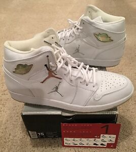 5ca9a33a09b8 Nike Air Jordan Retro 1 White Metallic Silver Chrome 2002 New DS ...