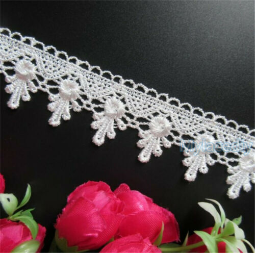 Vintage Flower Embroidered Lace Edge Trim Ribbon Crochet Applique Sewing Crafts