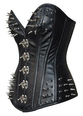 High Quality Fashion Over bust Real Leather Side pocket corset with Front Clasps