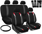 Seat Covers for SUV Van Truck 17pc Red Gray Black Steering Wheel/Belt/Head Rests