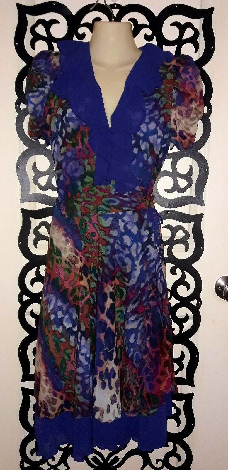 Beautiful Geometric Floral Print Silk Ruffle Wrap Dress Size Medium 8