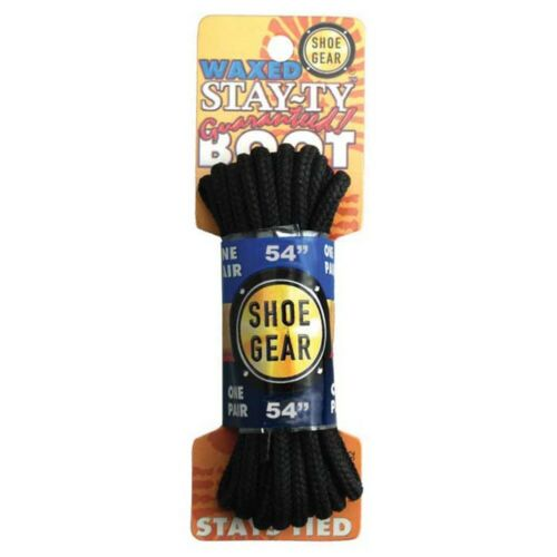 "Shoe Gear Waxed Boot Laces 54/"" Black//Blk"