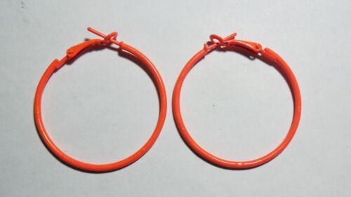 orange fluorescent 4 cm Boucles d/'oreilles créoles Bijoux fantaisie