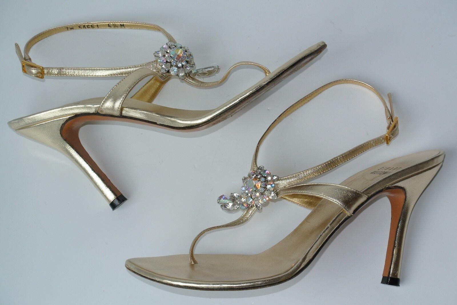 Stuart Weitzman Donna 6.5 M Gold Pelle Rhinestone Strappy Heels Pumps NICE!!
