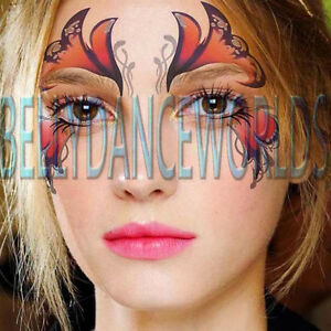 Face eye temporary tattoo halloween costume stage party for Face tattoo makeup