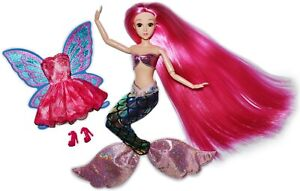 Eledoll-Sirenia-Long-Pink-Hair-Jointed-11-5-034-Fashion-Doll-MERMAID-TO-FAIRY