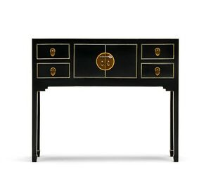 Image Is Loading Nine Schools Small Black Console Table