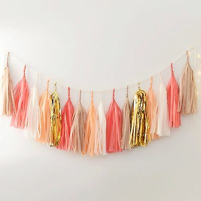 Coral, nudes and gold paper tassel garland - fully assembled - party decorations