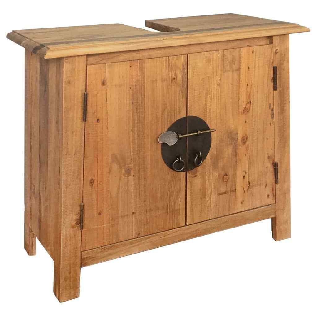 vidaXL Madera Pino Maciza Mueble Baño 70x32x63 cm Armario Tocador Bajo Lavabo