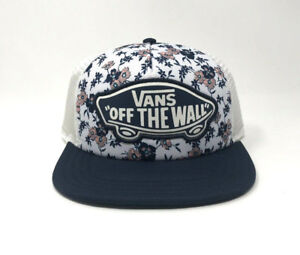 10178843ef Vans Beach Girl Trucker Hat Floral Blue OS Baseball Cap New NWT ...