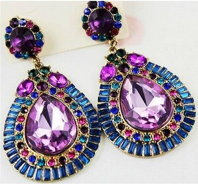 New Fashion Charm Colorful Crystal Flower Big Water Drop Dangle Earring Stud