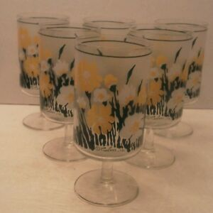 "Mid Century Signed Culver Ice Tea Footed Flower Glasses Set of 6 6 1/4"" High"