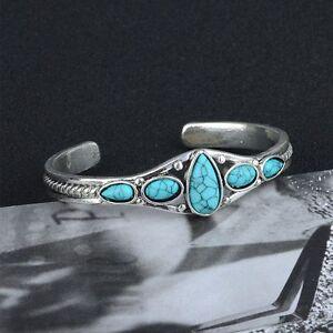 Jewelry-Vintage-Lady-Cuff-Fashion-Women-Bracelet-Adjustable-Bangle-Turquoise