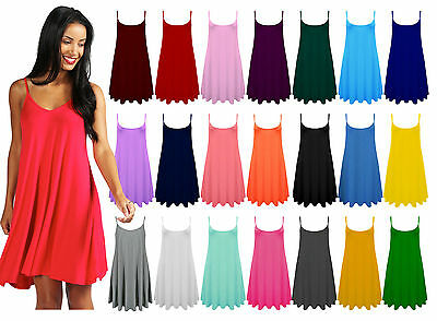 New Ladies Women Plain Cami Sleeveless Swing Skater Dress Plus Size Flared Dress