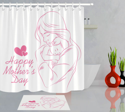 Salle de bains Tissu imperméable rideau de douche Set happy mother/'s day maman et bébé