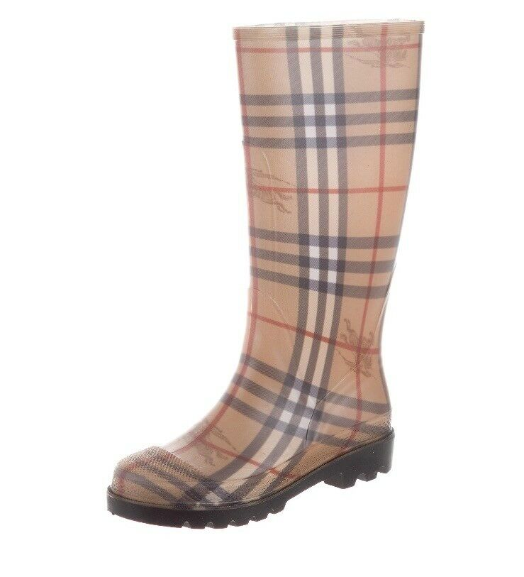 BURBERRY Rain Nova Check Haymarket Rubber Rain BURBERRY Boots Sz US 6 48d989