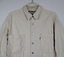 Vtg 90's LEVI'S Men's LG Khaki Tan Shirt L/S Button Front Western Red Tab