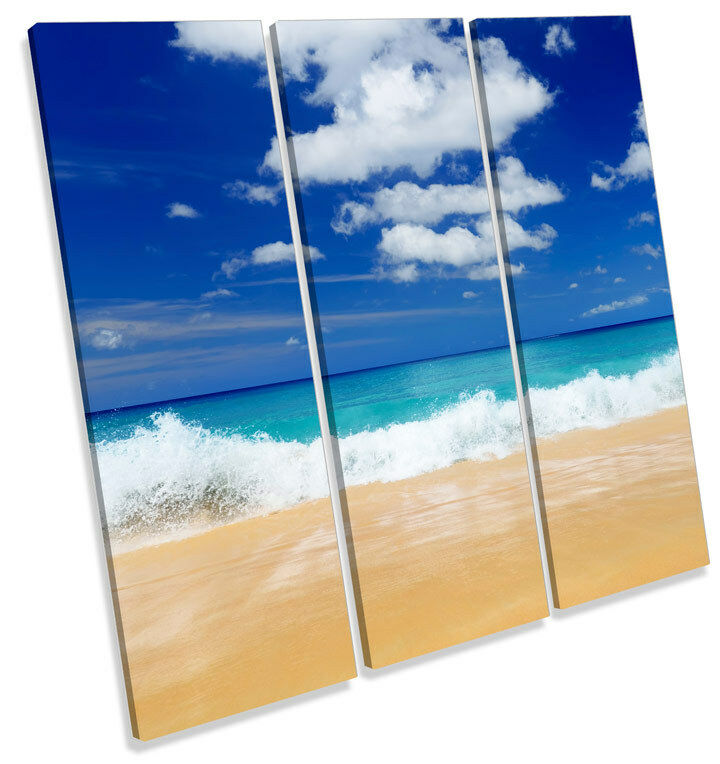 Beach Seascape Modern Blau CANVAS WALL ART TREBLE Square Print Picture
