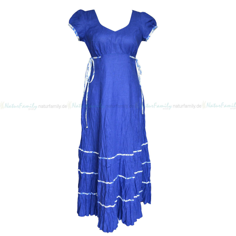 Leinenkleid Maxikleid aus 100% Leinen dunkelblue öko Sommerkleid lang Kleid 1525
