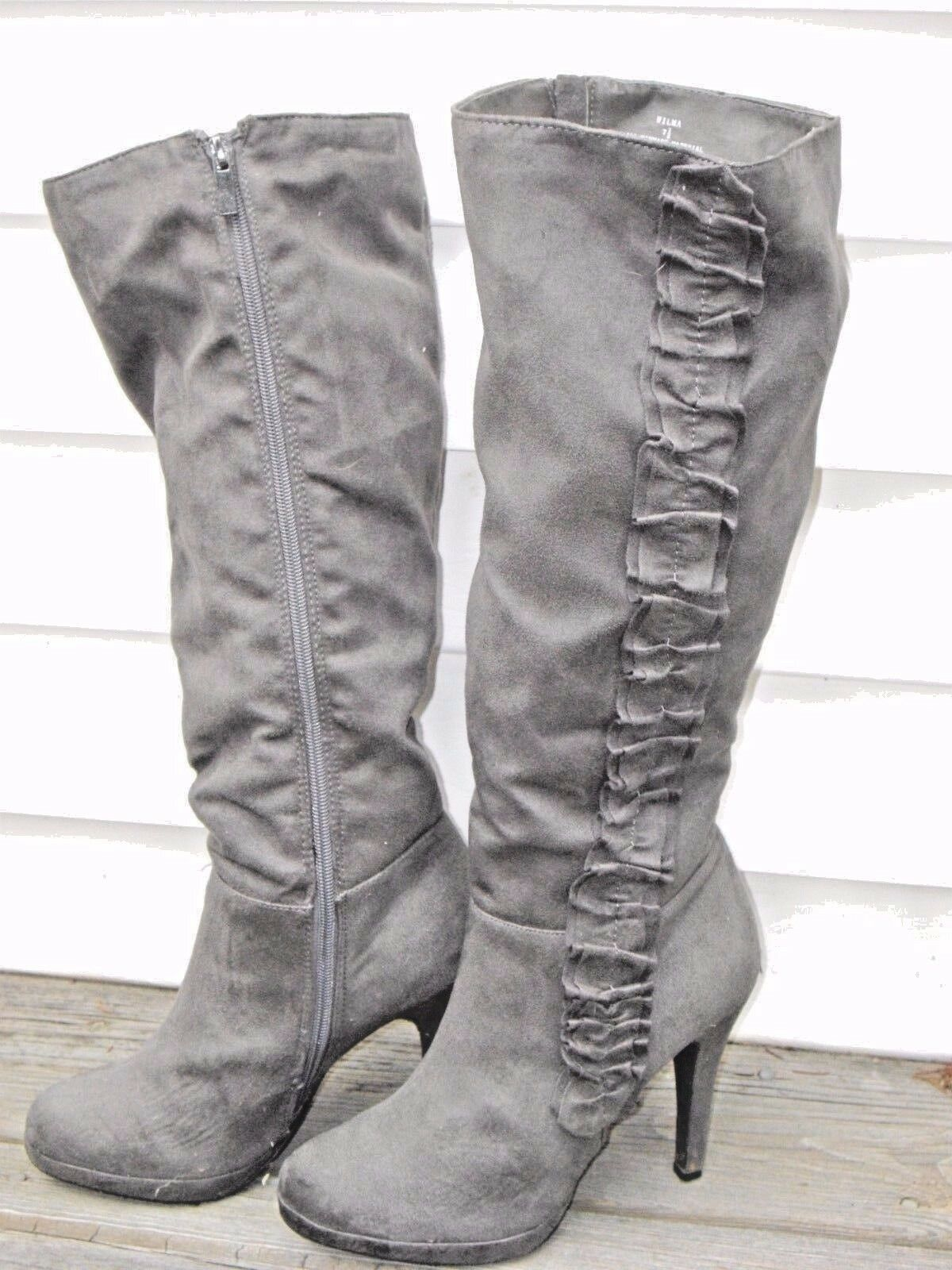 Woman's Grey Ruffle Suede Type High 7.5 Heel Stiletto Dress Boots 7.5 High 808140