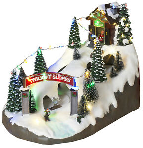 LED-Lighted-Christmas-Snow-Village-Musical-Holiday-Ski-Resort-Moving-Figurine