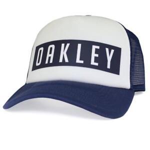 c606261a5f1 Oakley STACKED Adjustable Trucker Cap Navy White Mens Boys Snapback ...