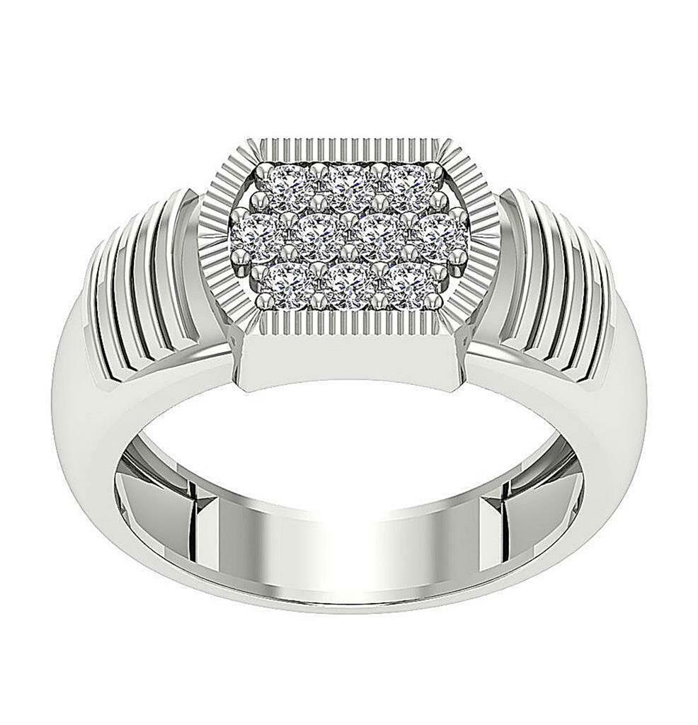 14K Solid gold Mens Designer Engagement Ring Genuine Diamond I1 G 0.70 Carat