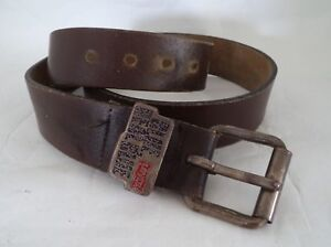 MENS VINTAGE QUALITY CHUNKY BROWN LEATHER WORN IN WESTERN BELT LEVIS ... ee84926dfb1
