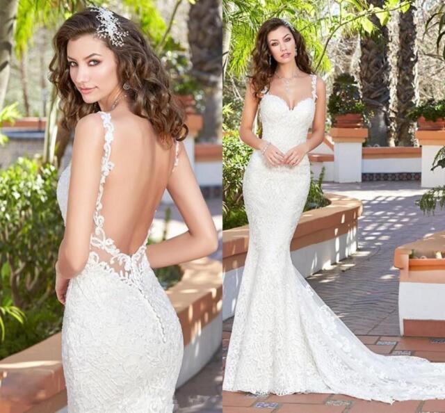 Spaghetti Strap Wedding Dress Backless Lace Applique Mermaid Bridal ...