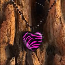Pink Zebra Animal Print Punk Rock Pin-up Girl Black Heart Glass Pendant Necklace
