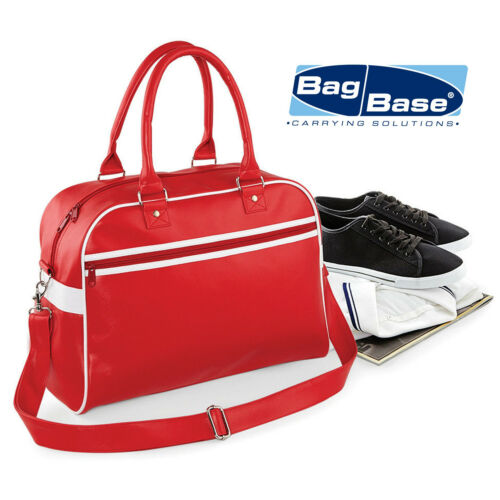 BAGBASE RETRO BOWLING BAG VINTAGE STYLE LARGE HANDBAG ADJUSTABLE STRAP CASUAL